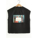Fashion Letter Character Print Round Neck Pullover Vest