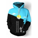 Autumn Fashion Color Block Day Night Astronaut Ladder Galaxy Printed Pullover Hoodie