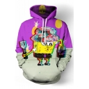 Stylish Spongebob Cartoon Printed Color Block Long Sleeves Pullover Hoodie with Pocket