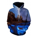 Fabulous Landscape Sea Cliff Galaxy Printed Long Sleeves Pullover Hoodie with Pocket