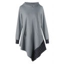 Chic Polka Dot Print Long Sleeve Hooded Asymmetric Hem Dress