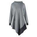 Chic Polka Dot Print Long Sleeve Hooded Asymmetric Hem Dress