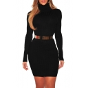Chic High Neck Long Sleeves Slim-Fit Bodycon Ribbed Mini Winter Dress