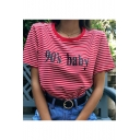 Stylish Striped Letter Pattern Round Neck Short Sleeves Casual T-shirt