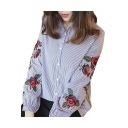 Pop Fashion Floral Embroidered Point Collar Long Sleeves Button Down Striped Shirt