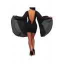Chic Plain Oversize Bell Sleeves V-Back Slim-Fit Bodycon Mini Dress