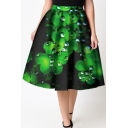 Fashionable Elastic Waist Clover Dewdrop Printed Flared Midi Skirt