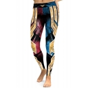 Cool Color Block Printed Slim-Fit Elastic Waist Leggings
