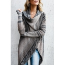 Stylish Striped Pattern Cowl Neck High Low Hem Wrapped Cardigan with Tassels