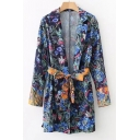 Hot Sale Floral Printed Notched Lapel Bow Belted Loose Tunic Shirt