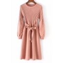 Women's Fashion Round Neck Bow Tie Belted Beaded Sleeves Ribbed Knitted Dress
