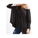 Stylish One Shoulder Long Sleeves High Low Hem Loose Plain Tee
