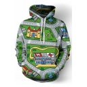New Fashion Cartoon Map Print Pocket Long Sleeve Hoodie