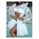 Fairylike Plain One Shoulder Bikini with Ruffle Hem Gauze Cover Up