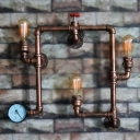 Industrial 22''W Multi Light Wall Sconce with Pipe Fixture Arm in Bar Style, 3 Light, Rust