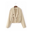 Double Buttons Lapel Collar Long Sleeve Plain Elastic Waist Coat with Faux Pocket