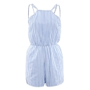 Girly Striped Pattern Spaghetti Straps Gathered Waist Summer Romper