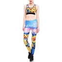 Fancy Sunflower Oil-Painting Printed Scoop Neck Cropped Tank with High Waist Workout Pants