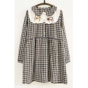 Hot Sale Cat Embroidered Plaid Pattern Peter Pan Collar Long Sleeve Dress