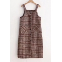 Winter Collection Tartan Plaids Button Down Double Pockets Overall Mini Dress