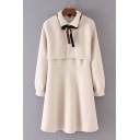Elegant Layered Front Point Collar Bow Tie Long Sleeves Plain Zip-Back Mini A-line Dress