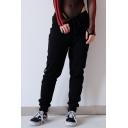 Trendy Drawstring Waist Grommet Embellished Hollow Stylish Slim Leg Pants