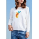 Fancy Carrot Mobile Phone Case Printed Round Neck Long Sleeves Pullover Sweater