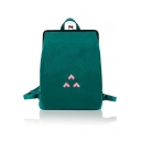 Stylish Embroidery Clasp Frame Backpack School Bag
