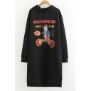 Cartoon Figure Letter Print Long Sleeve Hooded Dress