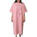 New Stylish Cartoon Print Half Sleeve Round Neck Nightgown Dress