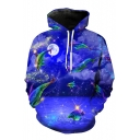 Chic Dolphin Sea Moon Night Pattern Long Sleeves Pullover Hoodie with Pocket