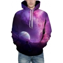 Stylish Moon Galaxy Sky Printed Long Sleeves Pullover Hoodie with Pocket