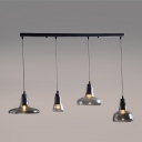 Industrial 4 Light Multi Light Pendant with Smoke Glass Shade, 31.5''W