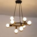 Industrial 24''W Multi Light Pendant in Open Bulb Style, 8 Light, Black