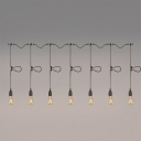 Industrial Adjustable Multi Light Pendant in Open Bulb Style, 7 Light, Black
