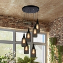 Industrial 6 Light Multi Light Pendant with Bottle Shape Metal Mesh in Bar Style