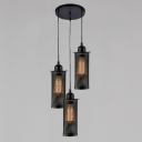 Industrial Vintage 3 Light Multi Light Pendant with Cylinder Metal Mesh in Bar Style