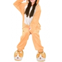 Lovely Dog Cartoon Paw Pattern Ears Hooded Loose Color Block Button Down Jumpsuit Pajama