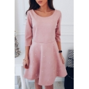 Ladylike Boat Neck Half Sleeves Plain Beaded Flared A-line Mini Dress