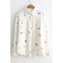 Fashionable Pattern Lapel Long Sleeve Button Down Shirt