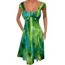 Elegant V-Neck Sleeveless Gathered Front Tie Dye Women's Mini A-line Dress