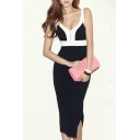 Fancy Color Block Split Side Reversible Slip Dress