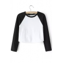 Fashionable Color Block Round Neck Long Sleeves Autumn Cropped Tee
