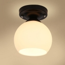 Industrial Vintage Flushmount Ceiling Light with 6.3''W Globe Glass Shade in White