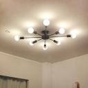 Industrial Edison Bulb 8 Light Semi-Flush Ceiling Light in Open Bulb Style, Black