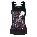 Retro Floral Skull Skeleton Rose Printed Scoop Neck Ladder Back Slim-Fit Tank