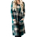 Peasant Round Neck Long Sleeves Checkered Plaids T-shirt Midi Dress with Pockets
