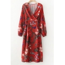 Vintage Style V-Neck Long Blouson Sleeves Floral Printed Midi Wrap Dress