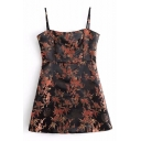 Hot Sale Spaghetti Straps Floral Pattern Bodycon Mini Cami Dress