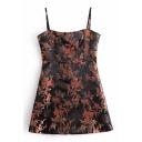 Hot Sale Spaghetti Straps Floral Pattern Bodycon Mini Cami Dress